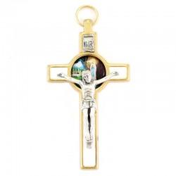 Crocifisso dorato smalto bianco Madonna di Lourdes 8 cm