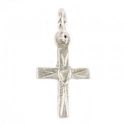 Croce con cuore in metallo argentato ossidato 1x1,5 cm