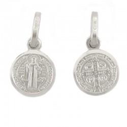 Medaglia San Benedetto argento rodiato Diametro 9 mm