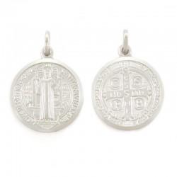 Medaglia San Benedetto argento rodiato Diametro 21 mm