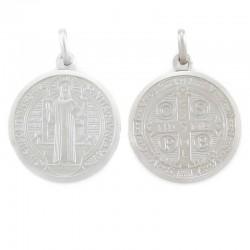 Medaglia San Benedetto argento rodiato Diametro 25 mm