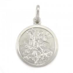 Medaglia San Michele Arcangelo argento rodiato Diametro 17 mm