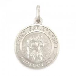 Medaglia San Cristoforo argento rodiato Diametro 19 mm