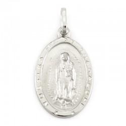 Medaglia Madonna di Guadalupe argento rodiato 14x22 mm
