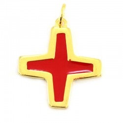 Croce metallo dorato smalto rosso 3,5x3,5 cm