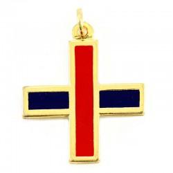 Croce metallo dorato doppio smalto 3,7x3,7 cm