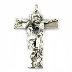 Crocifisso Maria sotto la Croce in metallo 3,5x4,5 cm