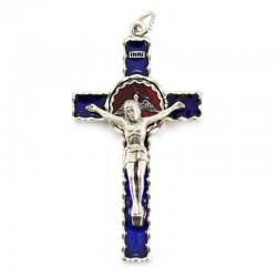 Crocifisso Spirito Santo smalto blu 4,2x7,2 cm