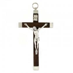 Crocifisso metallo e legno marrone 11 cm