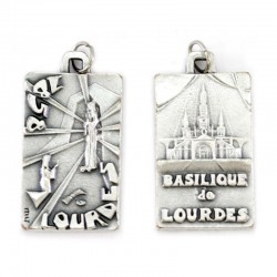 Medal Grotto of Our Lady of Lourdes and Basilic Diameter 2 x 3,5 cm