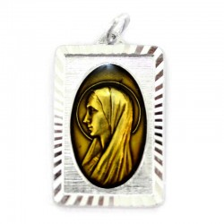 Medal of Our Lady of Lourdes aluminum and enamel 1,8x2,7 cm