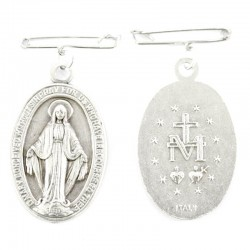 Miraculous medal in metal with pin 2,4x3,4 cm