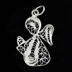 Angel stylized pendant 800 filigree silver 1,8x2,5 cm