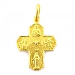 Cross in gilded silver 925 °° 4 effigies 1.4x1.8 cm