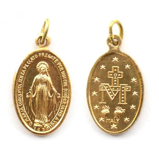Golden Aluminium Miraculos Medallion 2.2x1.5 cm