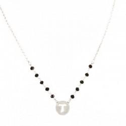 Collana argento rodiato con Croce Tau Grano 3 mm