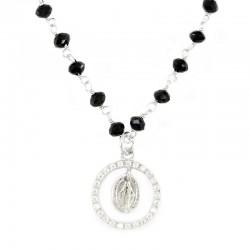 Collana argento rodiato grani cristallo e medaglia 14 mm