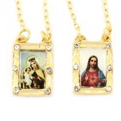 Scapolare Madonna del Carmine e Sacro Cuore Gesù metallo dorato 11x15 mm