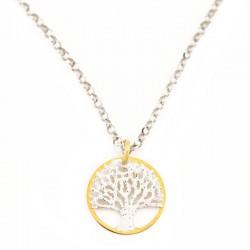 Pendente argento dorato Albero della vita con strass Diametro 15 mm