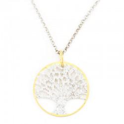 Pendente argento dorato Albero della vita con strass Diametro 24 mm