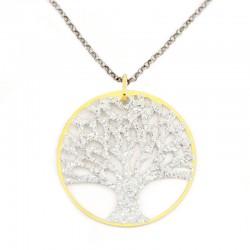 Pendente argento dorato Albero della vita con strass Diametro 34 mm