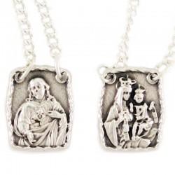 Collana scapolare Madonna e Gesù in metallo argentato 1,5x1,8 cm