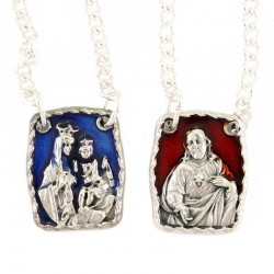 Collana scapolare Madonna e Gesù in metallo smaltato 1,5x1,8 cm