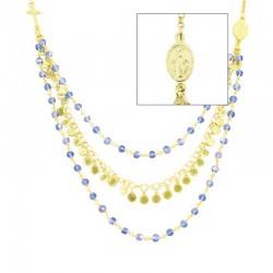 Collana argento dorato cristallo celeste