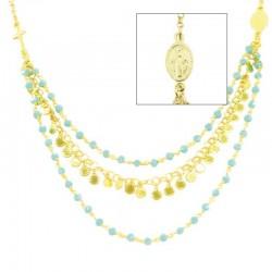 Collana argento dorato cristallo verde