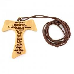 Pendente Croce Tau con Ave Maria 4,5x5 cm