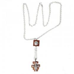 Croce San Damiano in legno e catena 1,7x1,7 cm