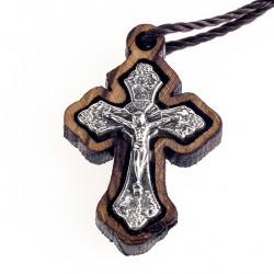 Olive Wood Round Cross Metal Jesus 2.5x1.5 cm