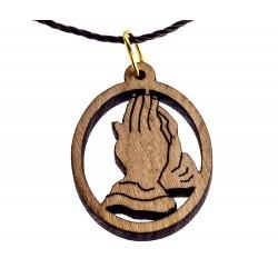 Pendente legno Mani in Preghiera 2,5x2 cm
