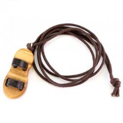 Ciondolo Sandalo in ulivo con cordoncino 1,5x3,5 cm