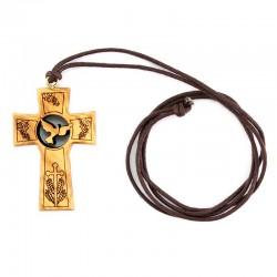 Croce ulivo con Colomba e Simboli Eucaristici 3,4x4,7 cm