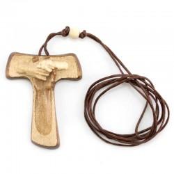 Croce della Pace Tau in legno con astuccio 4x5 cm
