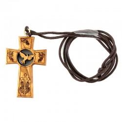 Croce legno con Colomba e Simboli Eucaristici 3,2x4,7 cm