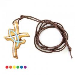 Croce stilizzata in legno colorato 3x4 cm