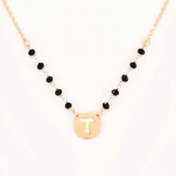 Collana argento ramato con Croce Tau Grano 3 mm