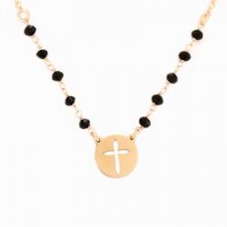Collana argento ramato con Croce Grano 3 mm