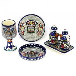 Set completo Vasi Sacri in ceramica decorata 4 Pezzi