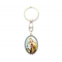 Portachiavi Madonna del Carmine ovale 2,5x9,5 cm