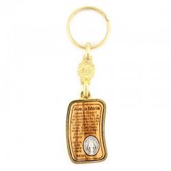 Portachiavi in ulivo Miracolosa con preghiera 2,5x8,5 cm