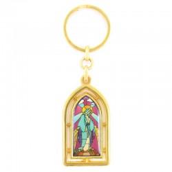 Portachiavi vetrata dorato Madonna Miracolosa 2,5x9 cm