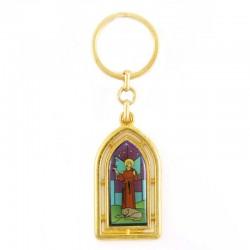 Portachiavi vetrata dorato San Francesco 2,5x9 cm