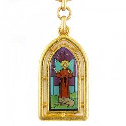 Stained Glass St. Francis golden Metal Keyring 2.5x9 cm
