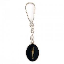 Portachiavi in metallo Madonna di Lourdes 2,5x11 cm