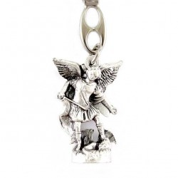Silvery Metal Keyring with St. Michael Statue 2.5x9 cm