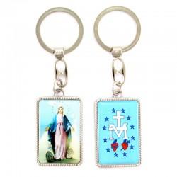 Portachiavi Madonna Miracolosa con stemma 3x10 cm