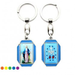 Metal Keyring Our Lady of Miracles with Enamel 3x9.5 cm